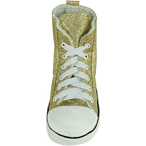 Gohom Mens Warm Winter Indoor/Outdoor Christmas High-Top Sneaker Slippers Shinging Yellow lykFpcsb
