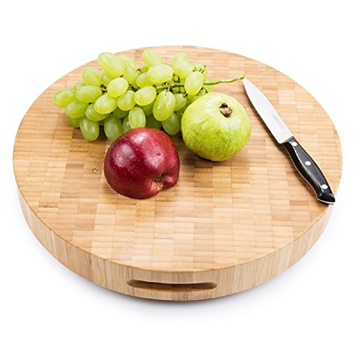(Warm Home Designs Extra Large End Grain 15 x 2 Inch Round Bamboo Butcher Block/Chopping Board with 4 Feet. Use it as Carving Board, or Wooden Cheese Board. Round Chopping Block 2