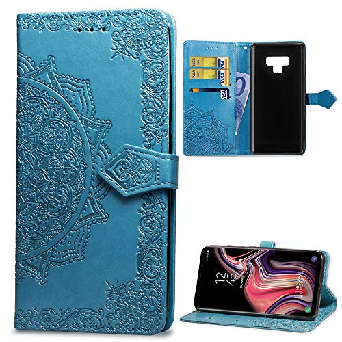 (Galaxy Note 9 Case, Mavis's Diary Embossed Blue Datura Flowers Wallet 3D Handmade Bling Butterfly Crystal Diamond PU Leather Shockproof Protective Cover & Wrist Strap Card Holders )