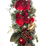 magnificent fireplace mantel decoration VILLAGE LIGHTING COMPANY 9 ft. Artificial Pre Lit LED Decorated Christmas Garland- Red Magnolia Decorations -100 Super Mini LED Warm Clear Colored Lights Timer Battery Pack Indoor Outdoor use