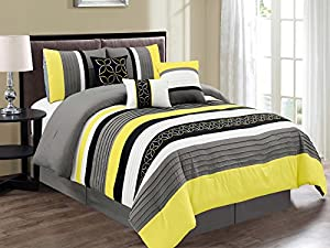 set white charcoal embroidered s and p comforter pleated striped picture floral queen gray of