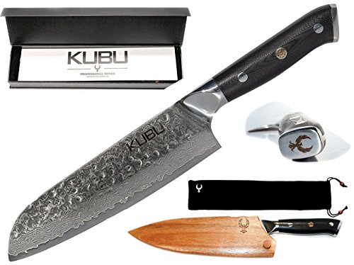"Best Professional 7"" Santoku Hammered Chef Knife With Acacia Wood Case / Sheath / Guard - Japanese VG10 64 Layer Damascus Super Steel. Great Gift For Your Chef's Knives Set. Made by Kubu Kitchen"