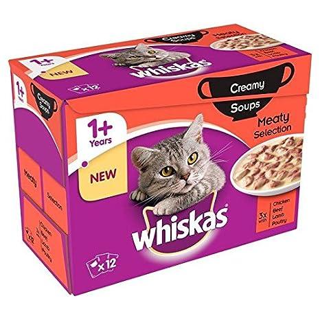 Whiskas 1 + bolsa para gatos, sopa de carne cremosa, 12 por paquete (