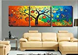 YEESAM Art New Paint by Numbers for Adults 3 Piece Pack Panel - Lucky Tree 16x16 inch Linen Canvas - DIY Painting Three Pieces Multipack Wall Art (with Frame)