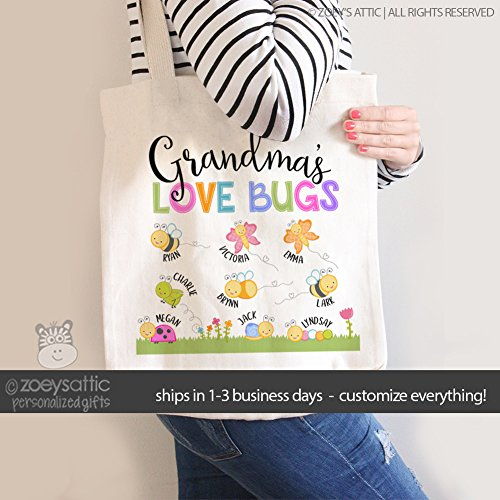 grandma tote bag | grandma's love bugs | mother's day tote bag | nana tote bag