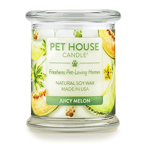 Melon Scented Jar Candle - One Fur All 100% Natural Soy Wax Candle, 20 Fragrances - Pet Odor Eliminator, 60-70 Hrs Burn Time, Non-Toxic, Eco-Friendly Reusable Glass Jar Scented Candles – Pet House Candle, Juicy Melon