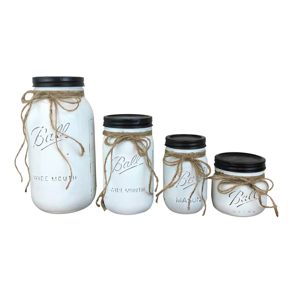Set of 4 White Painted Farmhouse Mason Jar Canisters