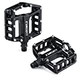 SUMGOTT Metal Bike Pedals, Mountain Bicycle Pedals with Aluminum Alloy Platform for MTB BMX Bike