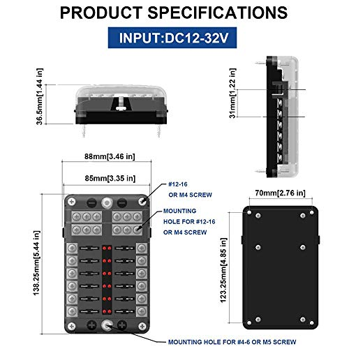 Thlevel Fuse Box 6 Way Blade Fuse Block 6 Circuits Fuse Box W/Negative Bus LED Warning Indicator Damp Proof Cover for…