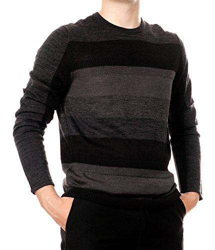 Calvin Klein Men's Merino Ribbed Stripe Crew Neck Sweater, Black, 2X-Large