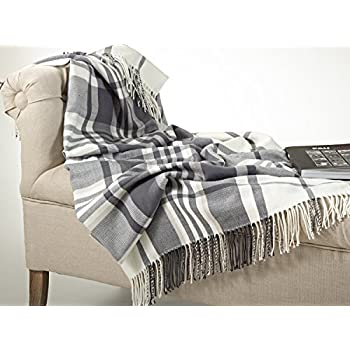 Plaid Design Throw Blanket in Soft Hues