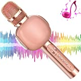 KVDUKOA Karaoke Microphone, Portable Handheld Wireless Bluetooth Karaoke Mic Machine for Home, Party, Birthday Gifts and Kids Girls Toys Age 5 6 7 8 9 (Rose Gold)