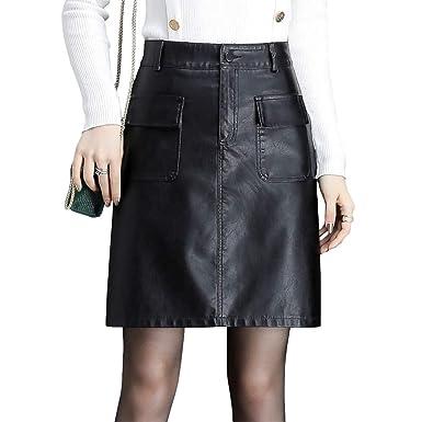 DISSA SK6186 Mini Rock - Falda de Piel sintética para Mujer Negro ...