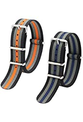 Ritche 2pc 20mm Nato Nylon Striped Black/grey/orange,black/grey/blue Replacement Timex Watch Strap Band