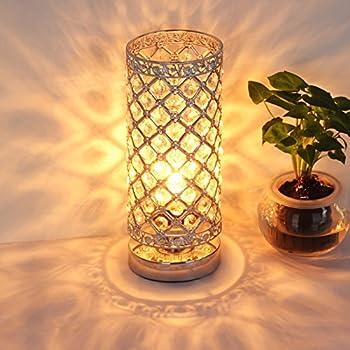 ZEEFO Crystal Table Lamp, Nightstand Decorative Room Desk Lamp ...