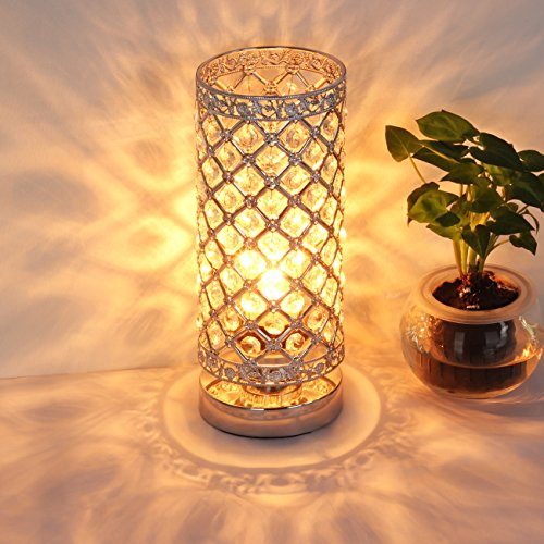 Table Lamp, Petronius Crystal Table Lamps, Decorative Bedside Nightstand Desk Lamp Shade for Bedroom, Living Room, Dining Room, Kitchen - Nightstand Light