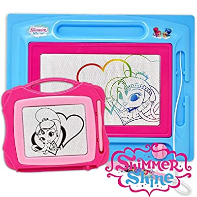 Shimmer and Shine Magnetic Drawing Board, Large Erasable Doodle Sketching Pad with Travel Size Sketcher to Color, Draw and Erase for Kids, Toddlers, Boys & Girls: Toys & Games