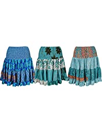 Womens Tiered Skirt Recycled Silk Vintage colorful Beach Skirts Wholesale Lot Of 3