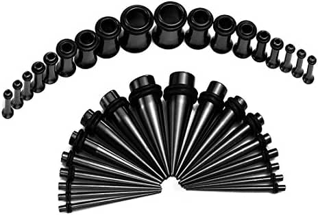 Vcmart 14G-00G Black Tapers with Plugs Ear Stretching Gauging Kit Surgical Steel