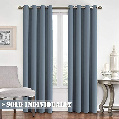 (Flamingo P Blackout Curtains and Drapes - Noise Reducing Thermal Insulated Solid Grommet Window Curtain for Living Room/Patio Door/Bedroom Decorative Fashion Curtain Panel, W52 x L84, Stone)