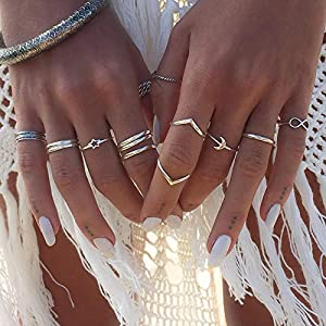 BERYUAN Women Trendy 12Pcs Boho Silver Star Moon Knuckle Ring Set Stackable Teen Girls Ring Pack Jewelry Dainty Gift for…