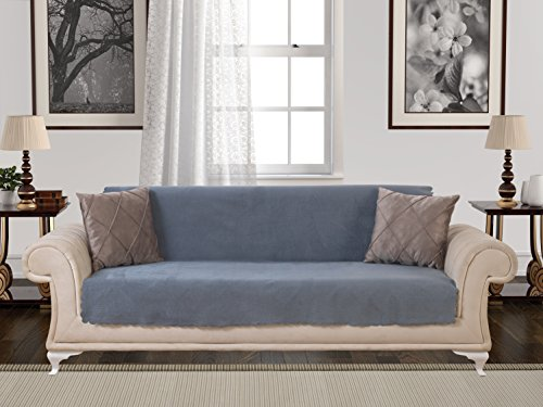 Anti-Slip Armless 1-Piece Sofa Throw Slipcover for Dogs Pets Kids Non-Slip Furniture Cover Shield Protector Fitted 2 & 3 Cushion Couch Futon Sectional Recliner Seater Diamond Sofa Smoke (Denim Sectional Sofa)