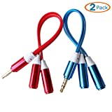 xlr male to split 1 4 - HTTX 4-Pole 3.5mm Stereo Headset Splitter, Male to Dual Female, Stereo Headphone Jack Flat Cable Adapter For iPhone iPad itouch External Speaker (Red&Blue, 2-Pack)