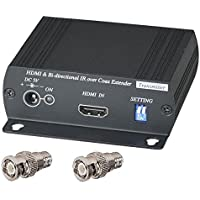 HDMI + BI-DIRECTIONAL IR over single 75ohm RG-6U Coax Cable Extender Balun Sender Receiver BNC