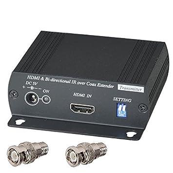 HDMI + bidireccional IR más único RG-6U 75 Ohm Coaxial cable extensor balun emisor receptor BNC: Amazon.es: Electrónica
