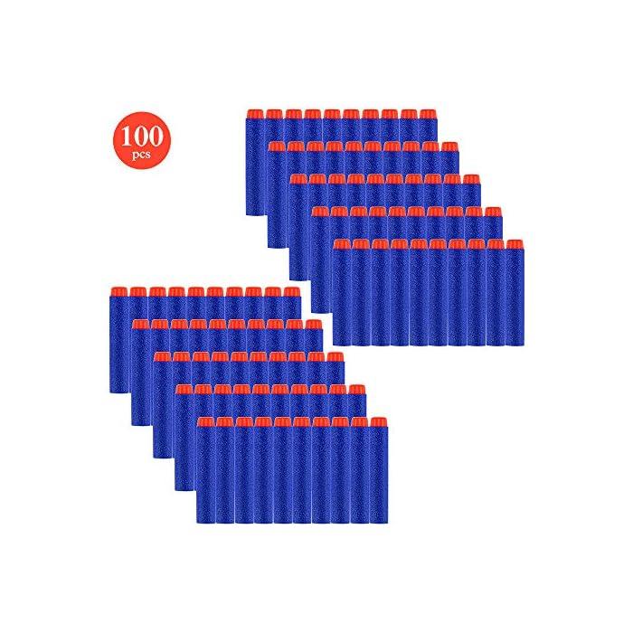 51l3uC%2B0OVL Seguro: con una textura plástica de esponja de EVA extra suave, puede doblarse o distorsionarse de manera flexible. El cabezal de plástico de cada bala está fuertemente conectado, no se preocupe que se desarmará fácilmente. Compatibilidad: la dimensión aproximada de cada dardo: 7.2x1.2cm / 2.83x 0.47 pulgadas. Se adapta a la mayoría de las pistolas de bala blandas N-graves. Fácil de transportar y almacenar Precaución: Para evitar lesiones oculares, no dispare a las personas directamente, especialmente en la cara. Sería más seguro para ti jugar bajo cualquier dispositivo de protección ocular.