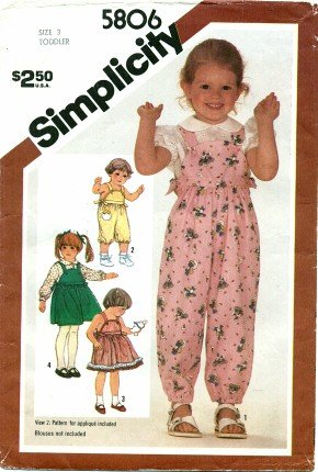 (Simplicity 5806 Vintage Sewing Pattern Toddlers Overalls Jumper Sundress)