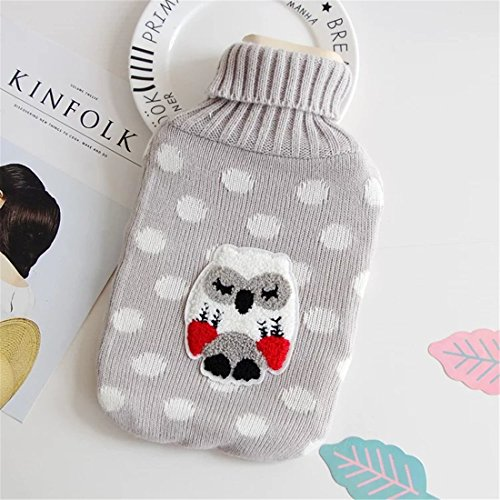 LKXHarleya Cartoon owl Hot Water Bottle Cover Hot Water Bottle Bag with Knitted Cover ()