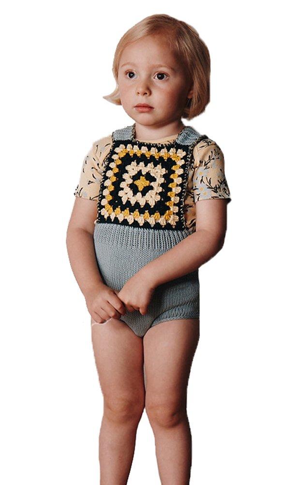 Pinleck Newborn Baby Girls Knit Strap Romper Geo Graphic Striped Jumpsuit Bodysuit by Pinleck (Image #2)