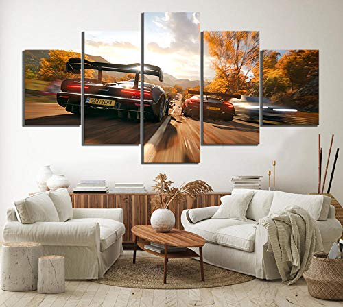 sansiwu 5 Piece Forza Horizon 4 Game Poster Paintings Car Racing Pictures Landscape Wall Paintings Canvas Art for Home Decor Wall Art