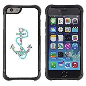 KROKK CASE Apple Iphone 6 - white clean floral glitter teal anchor - Rugged Armor Slim Protection Case Cover Shell