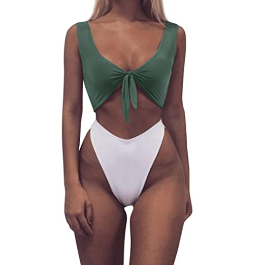 bb36ce4ad Amazon.com  Chouron Women Sexy Solid Knotted Padded Thong Bikini Mid Waist  Scoop Swimsuit Beach Swimwear  Clothing