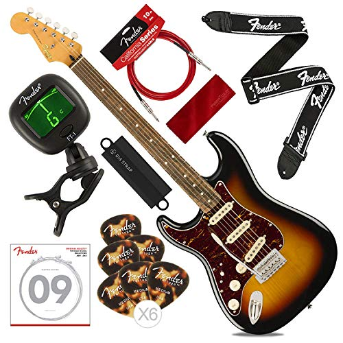 Squier by Fender Classic Vibe Stratocaster '60's Beginner Left Hand Electric Guitar, 3 Color Sunburst with Tuner, Strap, Strings, Picks, Cable & Cloth Deluxe Bundle