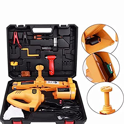 TFCFL 3Ton 12V Automotive Electric Scissor Car Jack Lifting Impact Wrench Tool 480 N.m Adjustable Automatic Electric Jack 12 Volt Fully Automatic Electric Car Jack Scissor Lift