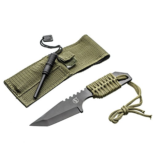 Survivor-HK-106320-Fixed-Blade-Outdoor-Knife-Black-Tanto-Blade-Green-Cord-Wrapped-Handle-and-Fire-Starter-7-Inch-Overall
