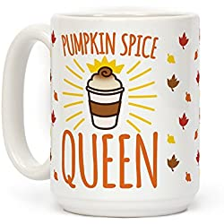 LookHUMAN Pumpkin Spice Queen White 15 Ounce Ceramic Coffee Mug