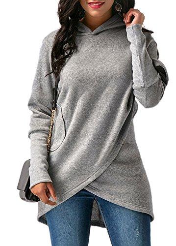 ShallGood Donna Felpe con Cappuccio Moda Asimmetrico Orlare Maniche Lunghe Cappotto Giacca Pullover Sweatshirt Hoodie Outwear Tops Grigio IT 40