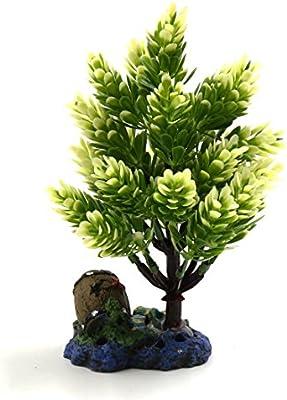 Sourcingmap® Planta De Pino Blanco De Plástico Verde Pecera Acuario Bajo El Agua con El Soporte del Ornamento