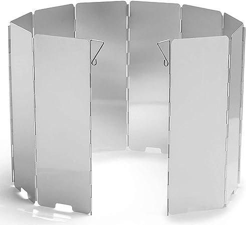BETOY 10 Placas Plegable Pantalla de Viento de Cocina de Camping, Aluminio de Aleación para Estufa de Gas Parabrisas de Viento para Camping Picnic al ...