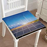 Mikihome Memory Foam Chair Pads Solar Panels with Wind turbines Against mountanis Landscape Cushion Perfect Indoor/Outdoor 16''x16''x2pcs