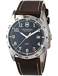 Victorinox 241648 Infantry GMT Black Dial Brown Leather Strap Mens Watch