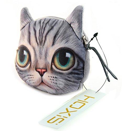 C&c Purse Zipper (Hoxis Lovely Cat Coin Zipper Purse (Curious)/ Cartoon Mini Wallet Novelty Design C)
