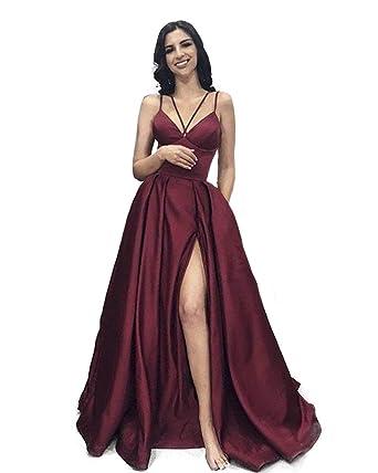 24c8b02985 Clothfun Womens Simple Prom Dresses with Slit Wedding Guest Dress ...