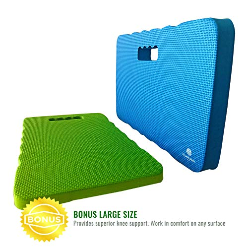 Growerology Thick & Large Kneeling Pads - Multi-Purpose Kneeler for Gardening, Work, Baby Bath, Bathtub, Waterproof Mat Cushion for Home, Fitness, Yoga, Gym, Cleaning, Prayer, Automotive (Pack of 2) (Gardening Materials)
