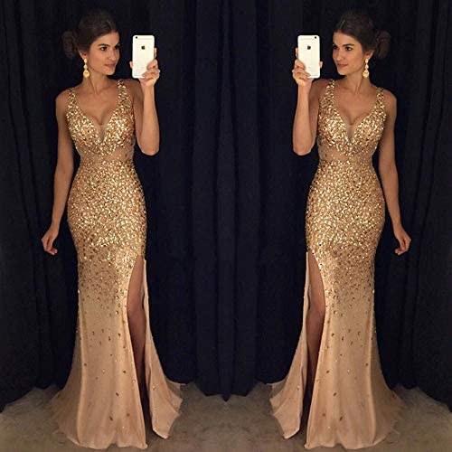 @W.H.Y Deep V Split Dress Paillettenkleid,Gold,XL