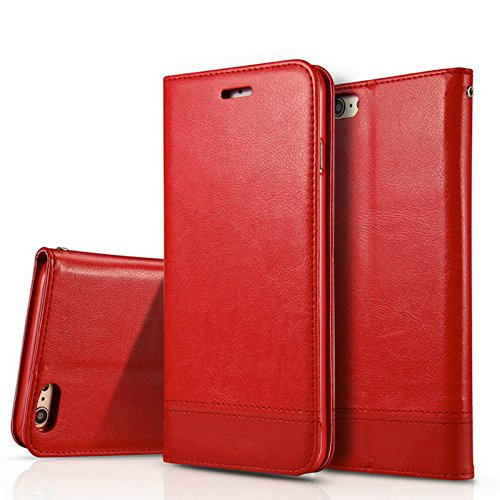 iPhon6/6S Case, NDLBS Premium PU Leather [Wallet Kickstand] Case All-Powerful Cover for Apple iPhone6/6s(Red)